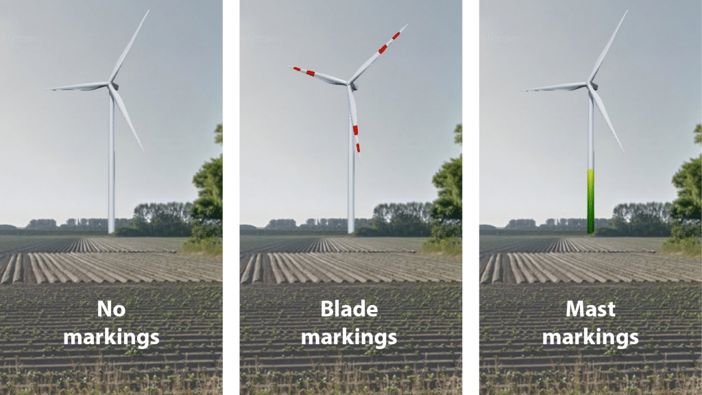 coloring of wind turbine blade and mast